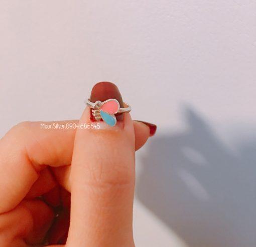 Nhẫn bạc bé gái hình con bướm từ 4-6 tuổi