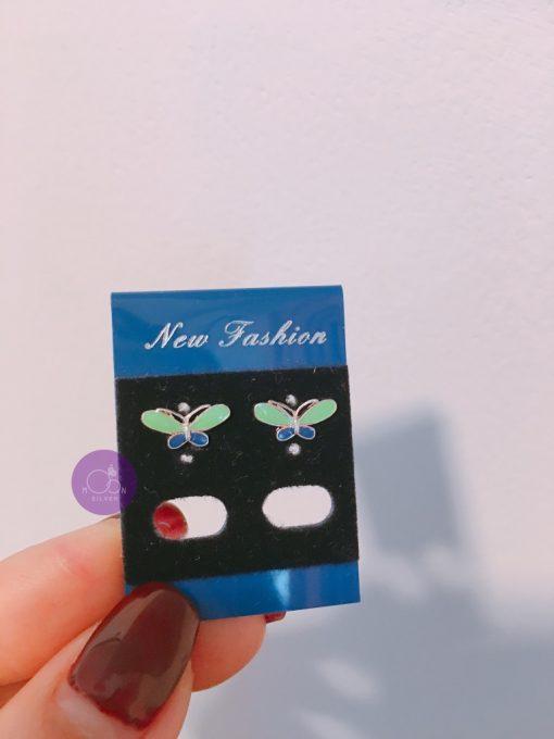 Khuyên tai bạc bé gái hình con bướm
