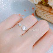 Nhẫn bạc nữ 2 tim hở