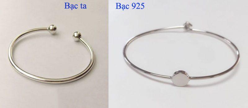 So sánh giữa bạc ta và bạc 925. Dễ dàng nhận thấy bạc ta có mức độ sáng trắng kém hơn bạc ta và chỉ thường được làm những mẫu trang sức dạng trơn